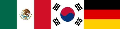 Bruttotrupper för Mexiko, Sydkorea och Tyskland